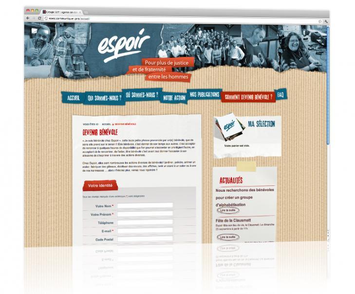 PROSPECTIV* - Agence communication - web agency Alsace - Conception et hébergement du site internet vitrine Espoir 3