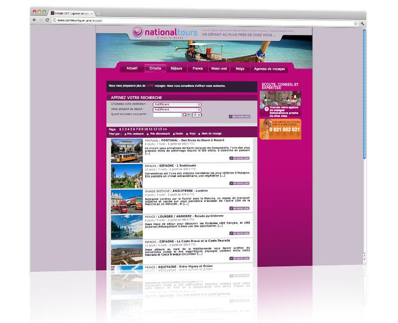 Agence web Alsace - Création du design du site Nationaltours 2