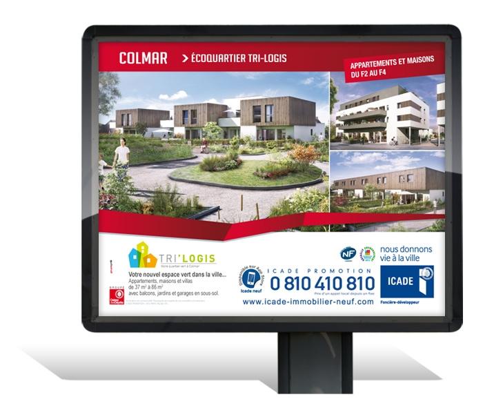campagne de d'affichage 4x3 pour le programme immobilier Trilogis à Colmar