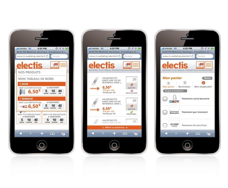 Création du design du site mobile Electis