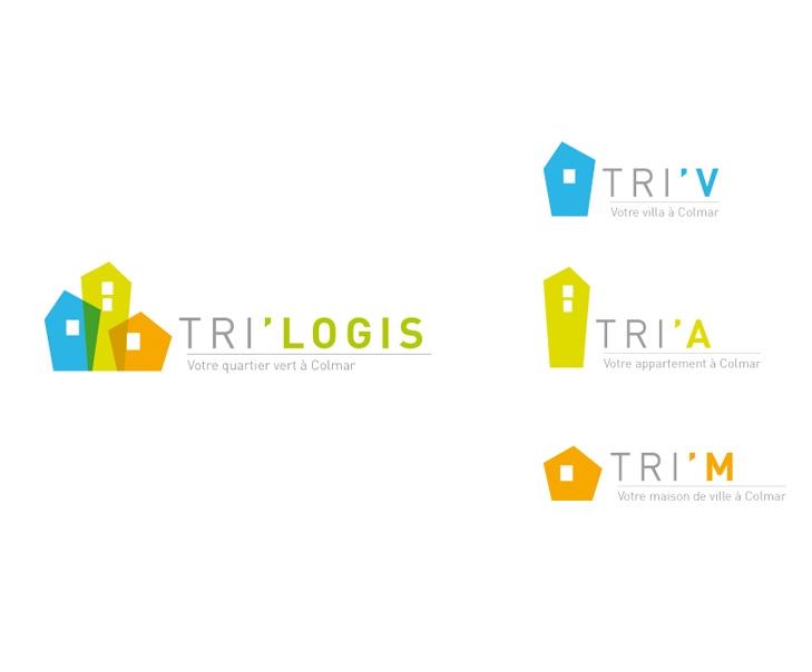 Création du logo et de ses déclinaisons pour le programme immobilier Trilogis à Colmar