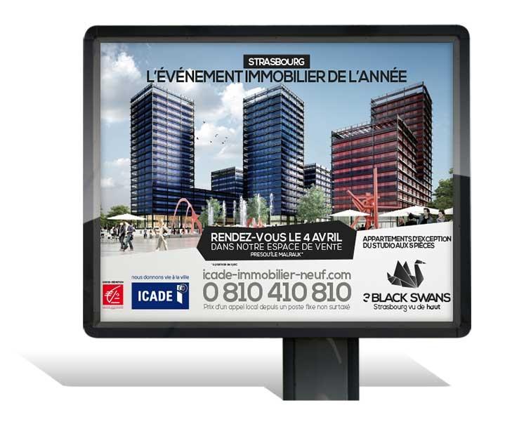 Icade 3 Black Swans Strasbourg - Affichage 4x3