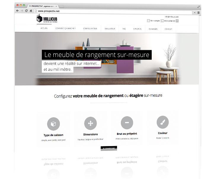 cr ation de l 39 identit et du site internet de vente en ligne de meubles de rangement prospectiv. Black Bedroom Furniture Sets. Home Design Ideas