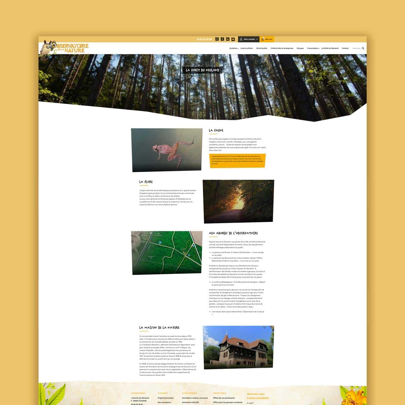 Présentation d'une page su site de l'Observatoire de la nature